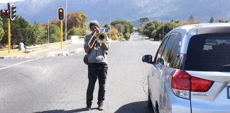Busker with no audience South Africa