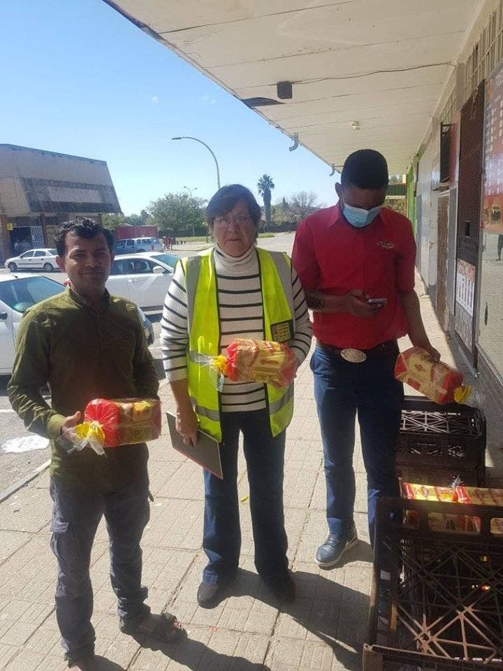 free state shop keeper and friends helping community food parcels