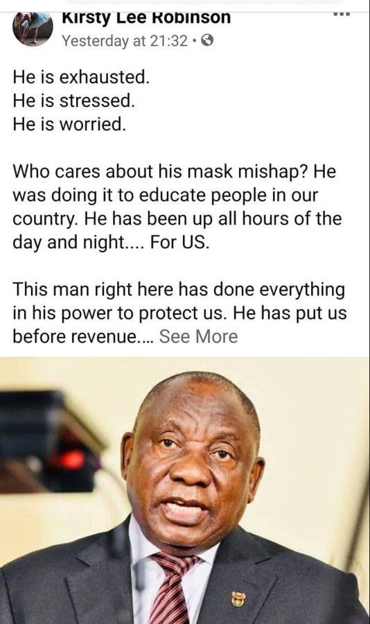 words for president after mask incident south africa