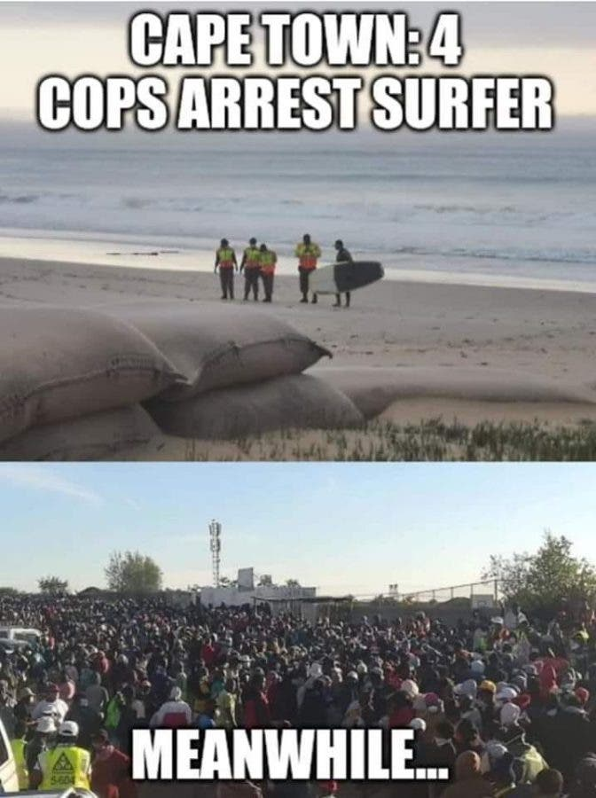 cops arrest surfer south africa