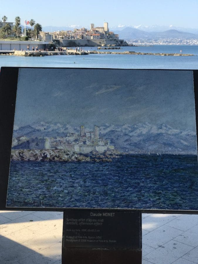 There are several Claude Monet paintings shown around the town and up at the lighthouse. Antibes