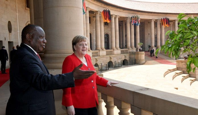 President Cyril Ramaphosa hosts Chancellor Angela Merkel on Official Visit President Cyril Ramaphosa hosted Chancellor Angela Merkel, on an official visit at the Union Buildings in Pretoria. Chancellor Merkel visited South Africa at the invitation of President Ramaphosa from 5 7 February 2020. They exchanged proposals on the expansion of mutually beneficial trade and investment. (Photos: GCIS)