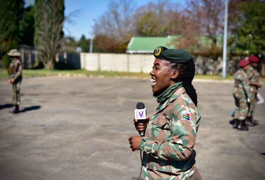 Soldier being interviewed explains the unique issues faced by women on patrol, including unpredictable periods.