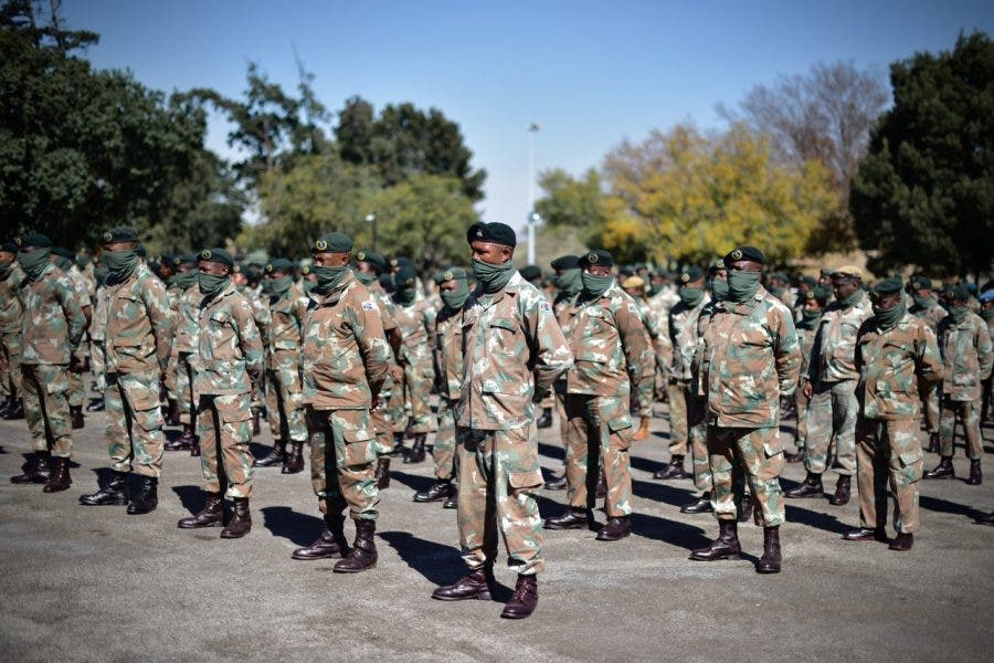 21 Infantry Battalion members in formation for the event