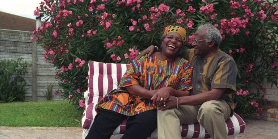 Archbishop Tutu and his wife Leah enjoying each others company at their Milnerton home.