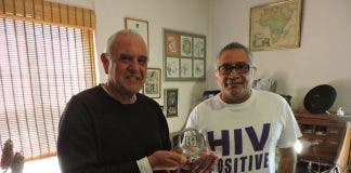 Zackie Achmat (right) with friend of many decades Jack Lewis after Achmat received the 2018 International AIDS Society President's award on a webinar on Thursday.