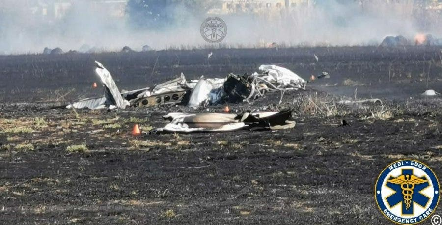 The wreckage of the Piper Cherokee flown crashed with rookie pilot Anika de Beer at the control at Wonderboom Airport, South Africa