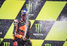 brad binder celebrates moto gp win