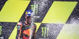 brad binder celebrates moto gp win