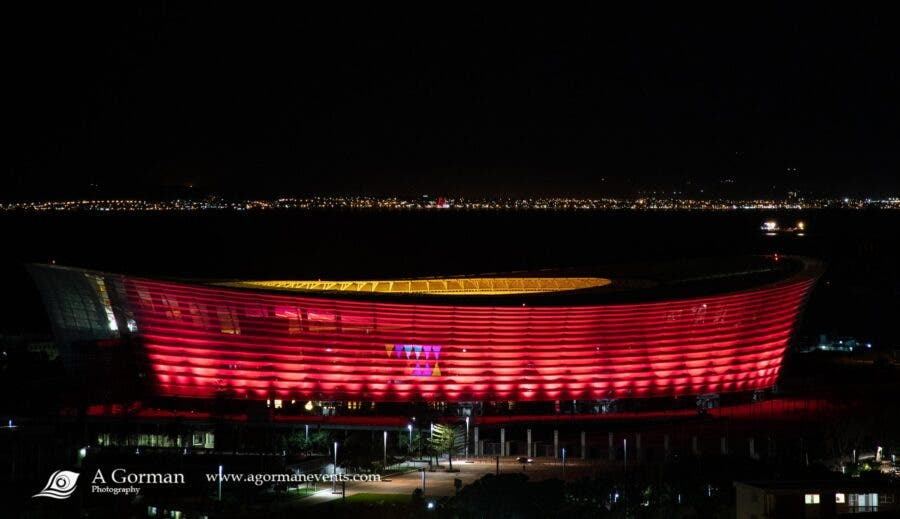 cape town stadium painted red lightsared