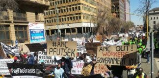 People from various organisations protested in Johannesburg on Saturday. Photo: Zoë Postman