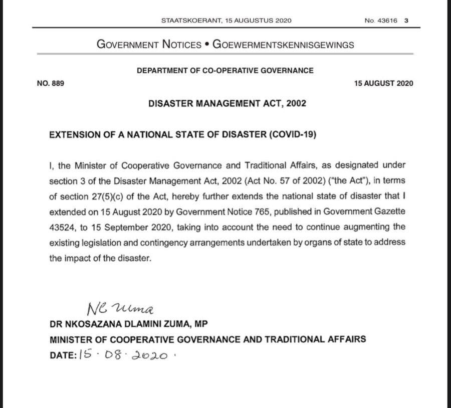 state of disaster extended by a month