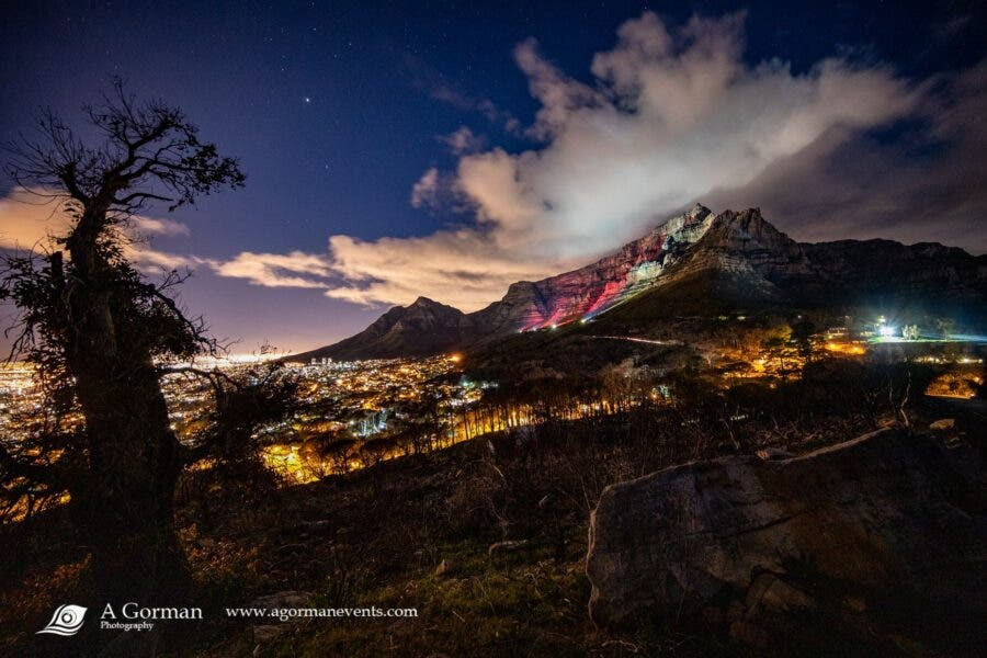table mountain cape town painted red lightsared