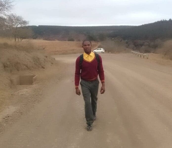 Grade 11 learner Zwelakhe Mnomiya walks approximately 11 kilometres to his high school in rural Kranskop because the KwaZulu-Natal education department says there's not enough money to provide him and a dozen other learners from his village with transport. Photo: Supplied
