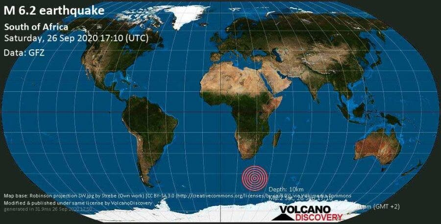 Earthquake off Cape Town, South African coast, Saturday 26 September 2020