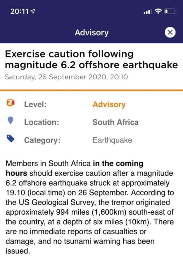 cape town earthquake exercise caution