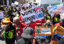About 150 farm workers and supporters marched to Parliament to hand over a memorandum demanding an urgent meeting with Minister Thoko Didiza on farm women's land issues and needs. The march was held to mark International Rural Women's Day and and World Food Day. Photos: Ashraf Hendricks
