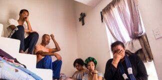 From left: The Van Der Vendt family including Enriquo, Eric, Shamonique, Nicole and Edwina (who is in tears with her hands still injured from the day of their eviction) at their home in the Vlakkeland Housing Project in Wellington. They were evicted from the Irene farm in Paarl last week. They had lived there for nearly 23 years. Photo: Ashraf Hendricks