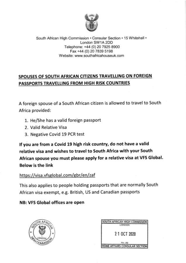 SA High Commission UK Letter DHA 2