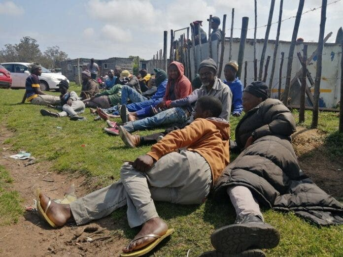 Former Dippin Blu Racing grooms in Port Elizabeth during a meeting outside the Fairview informal settlement where most of them live. Photo: Mkhuseli Sizani