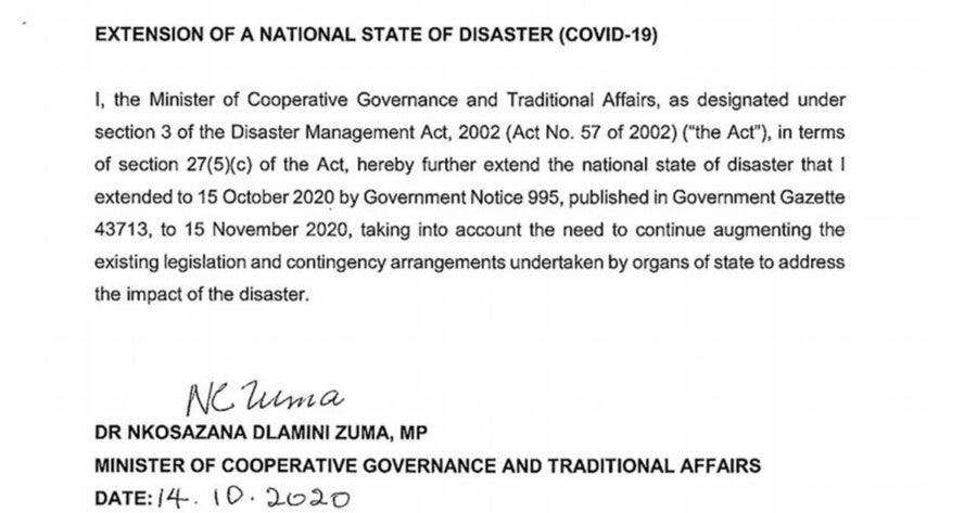 National State of Disaster extended in South Africa