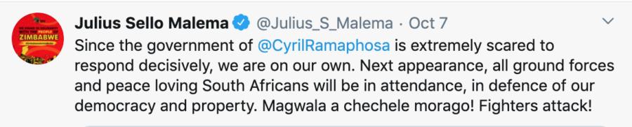 julius malema tweet