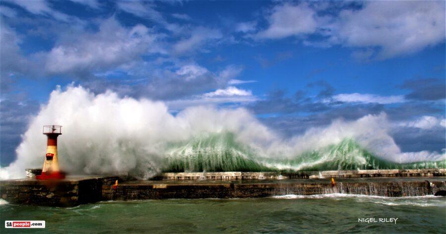 kalk bay harbour huge waves