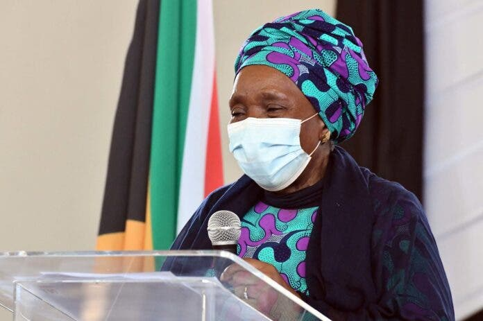 Minister Nkosazana Dlamini Zuma at the launch of the Harry Gwala District Development Model , today 14 October 2020. Photo: GCIS