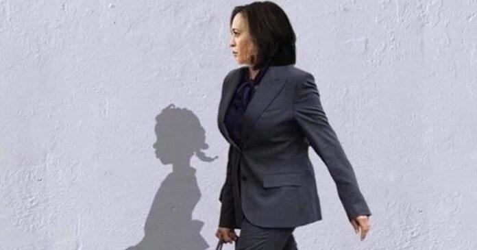 Kamala Harris with shadow of Ruby Bridges