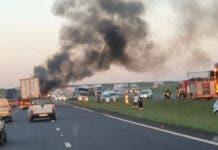 Two trucks burning at Etwatwa, near Benoni in Gauteng. Photo: FB / SA Long Distance Truckers