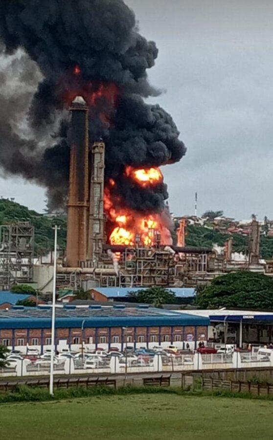 Engen refinery fire Durban South Africa