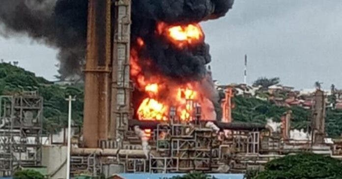 Engen refinery fire in Durban South Africa after an explosion on Friday morning, 4 December 2020. Photo supplied.