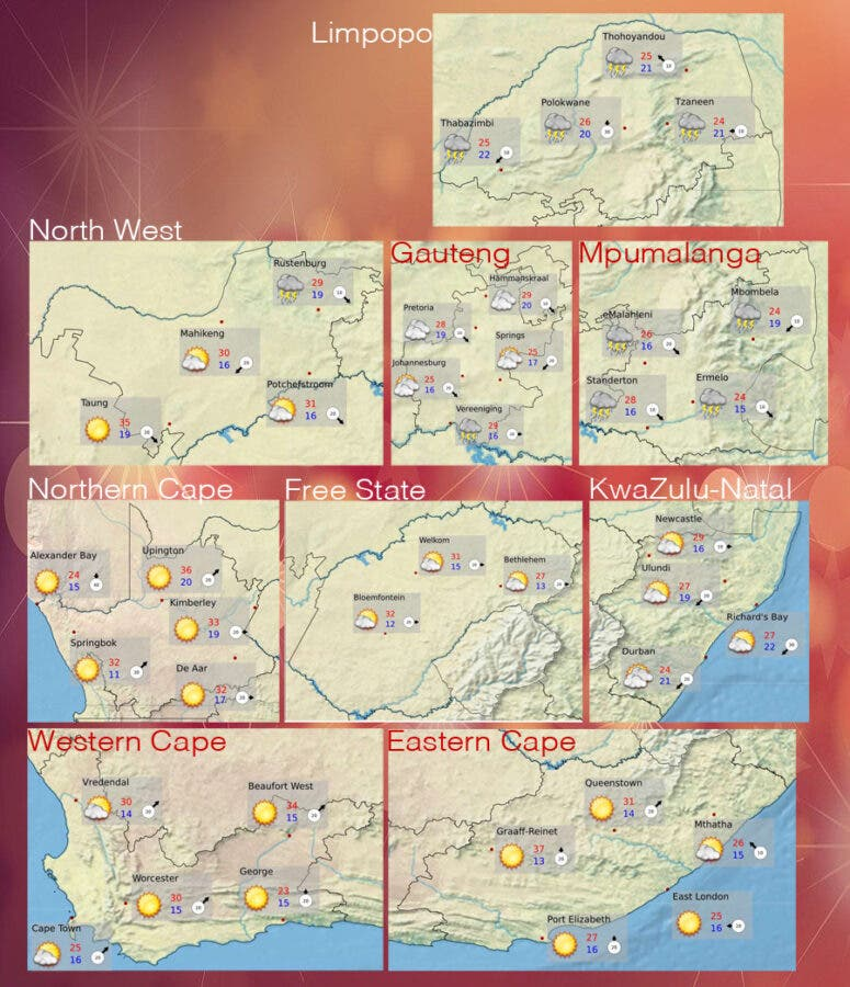 South African weather forecast for Christmas Day