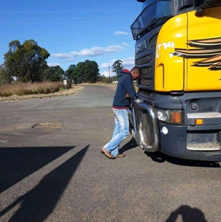 trucker south africa protests shooting arson burning