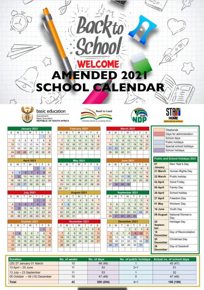 amended school calendar south africa
