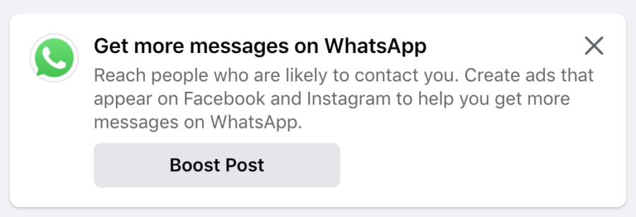 facebook promoting whatsapp