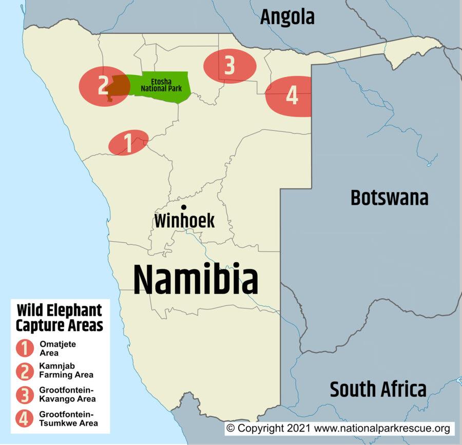 Elephant capture areas. (Image: Supplied)