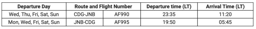 Air France Paris Joburg schedule