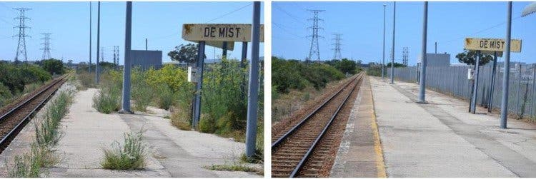 De Mist station before and after it was cleaned. Photos: Thamsanqa Mbovane