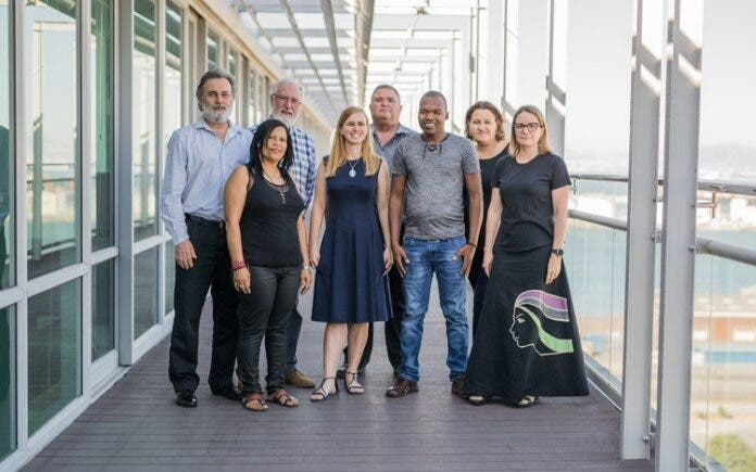 Archive photo of the orignal defendants in defamation suits brought by an Australian mining company (from left to right): environmental lawyer Cormac Cullinan; Lutzville community activist Davine Cloete; social worker, author and commentator John GI Clarke; former Centre for Environmental Rights (CER) attorney Tracey Davies; Riaan Oberholzer; Wild Coast community activist Mzamo Dlamini; Tossie Beukes and former CER attorney Christine Reddell. The claims against Beukes, a journalist, and Oberholzer, her publisher, were dropped.