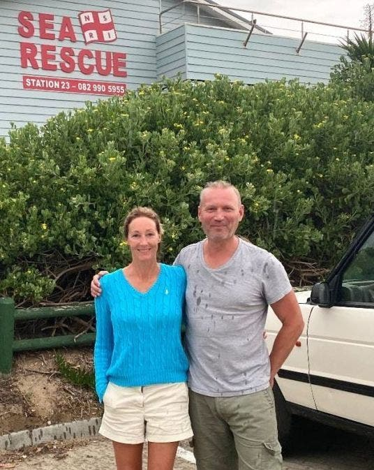 Brave German Bjorn Birr von Bismarck, 49, who is a former officer with the German police and his wife Julie, 47. The married couple from Lubeck have a holiday home in South Africa and Bjorn was hailed a hero after saving a third swimmer from drowning in the last year.