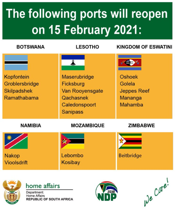 south african borders reopen
