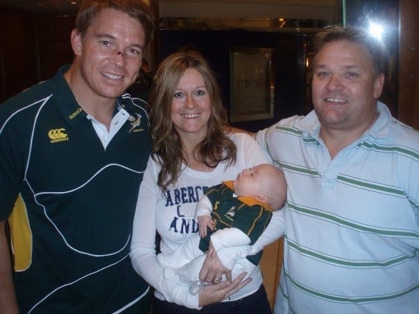 Tiaan Springbok gear as a baby South African expats