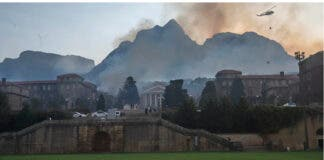 A wildfire spread across the slopes of Table Mountain to the University of Cape Town. Photo by Brenton Geach/Gallo Images via Getty Images