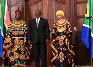 President Ramaphosa with His Excellency Mr Anu'a-Gheyle Solomon Azoh-Mbi, High Commissioner of the Republic of #Cameroon