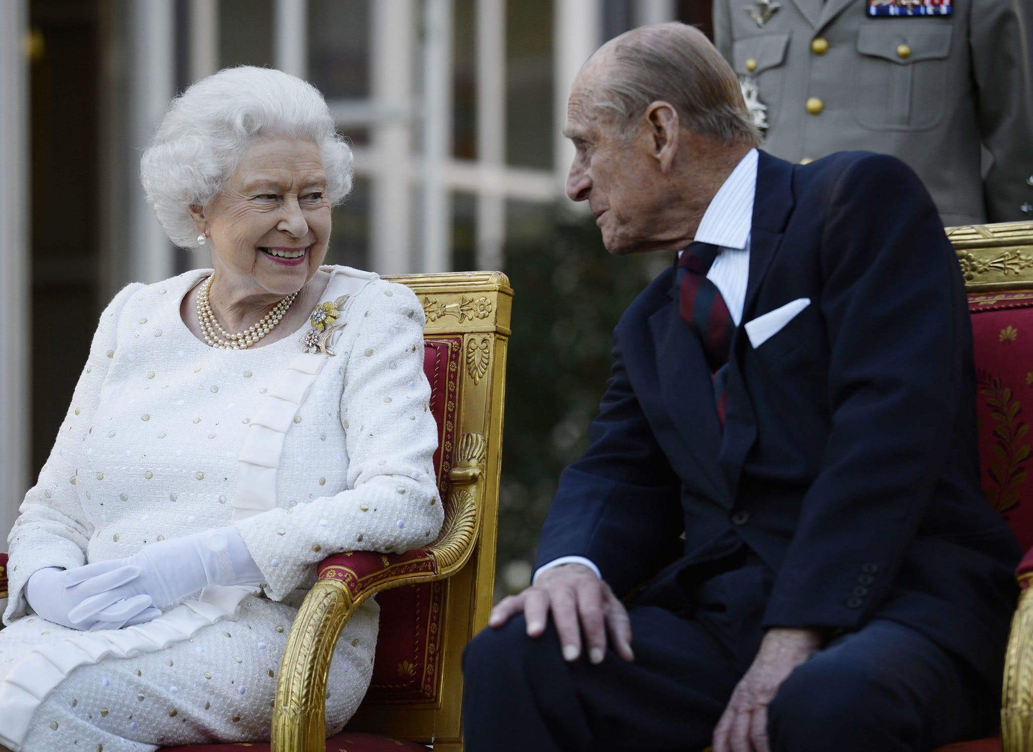 Prince Philip and Queen smiling