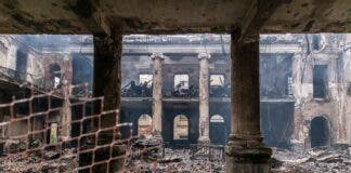 The University of Cape Town's Jagger Library, which housed thousands of theses, artworks, and precious documents, has been gutted. Photo: Ashraf Hendricks