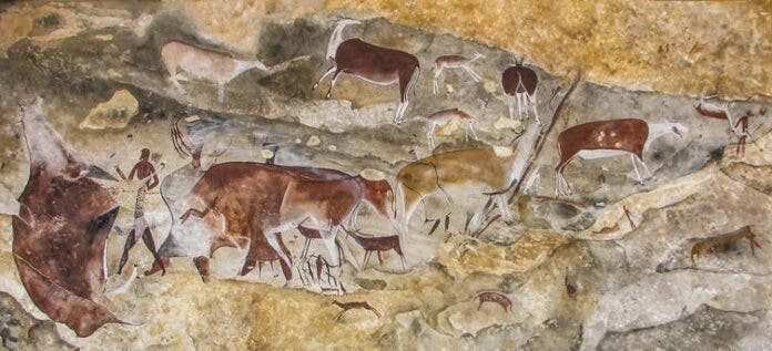 Detail of the ceiling paintings of the San people in the Drakensberg, South Africa. Courtesy © Stephen Townley Bassett