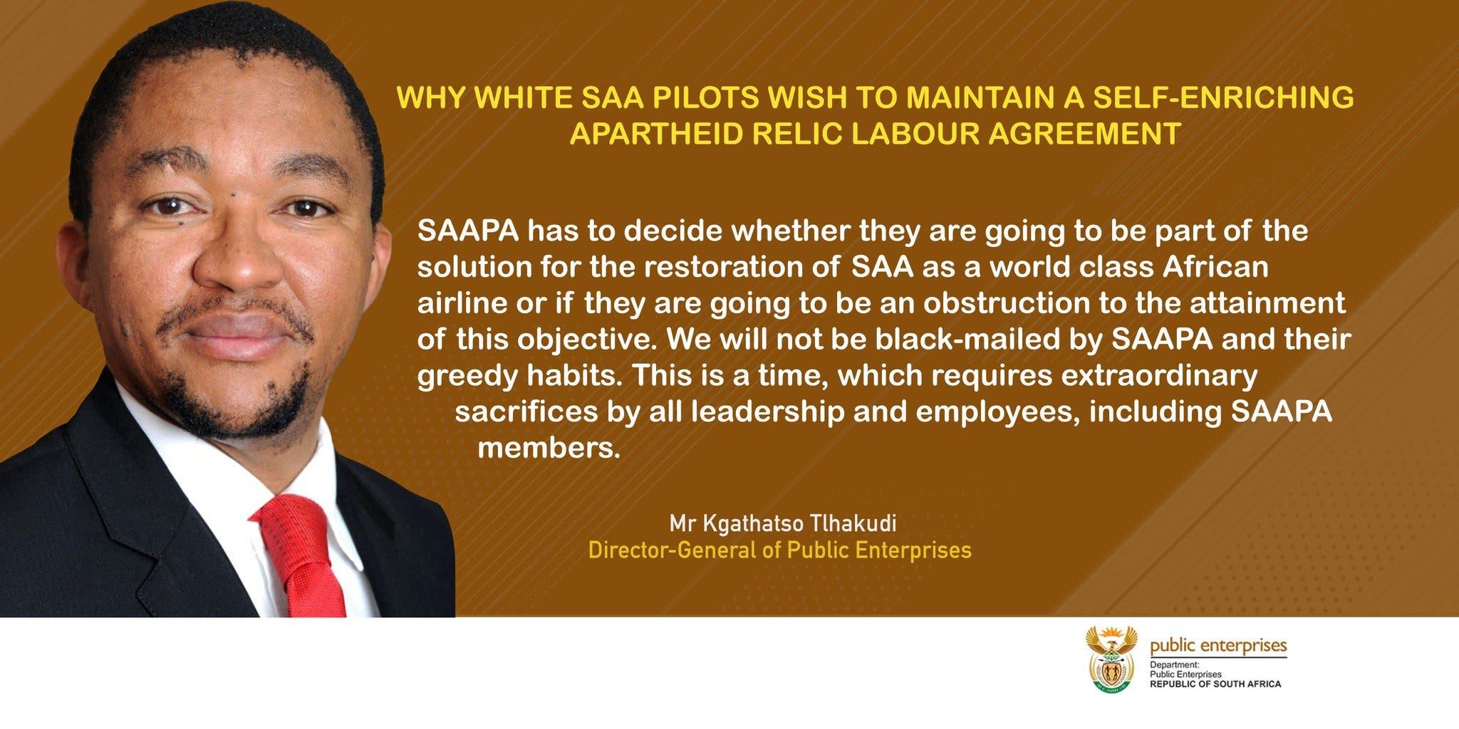 White SAA pilots tweet by Dept of Enterprises