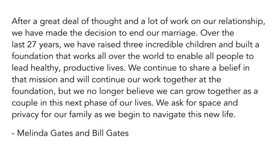 Bill Gates and Melinda Gates' joint statement announcing their divorce.